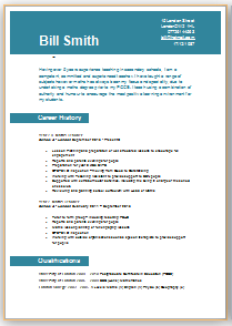 Cv Template Teaching Job